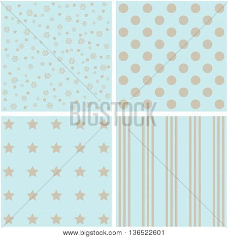 Vector set of 4 background patterns in pale blue.