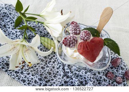 delicious dessert, ice cream with fresh berries, raspberry and watermelon