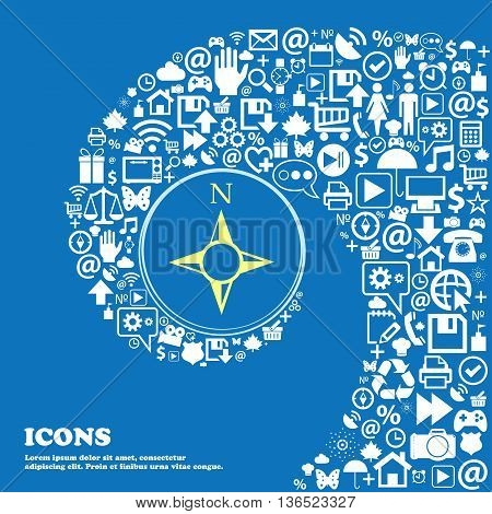 Compass Sign Icon. Windrose Navigation Symbol . Nice Set Of Beautiful Icons Twisted Spiral Into The