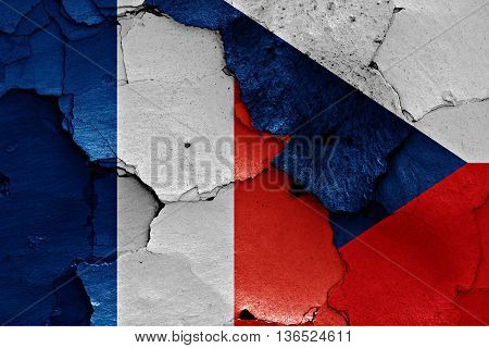 Flags Of France And Czechia Painted On Cracked Wall