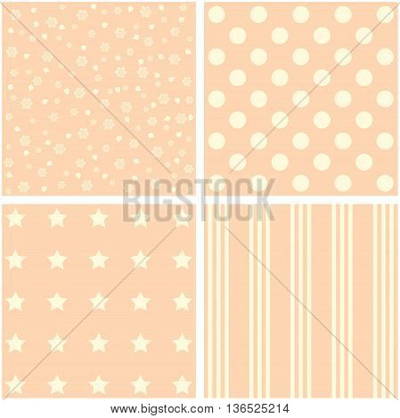 Vector set of 4 retro background patterns in purple and green.
