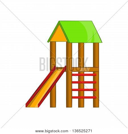Slide house icon in cartoon style isolated on white background. Entertainment for children symbol
