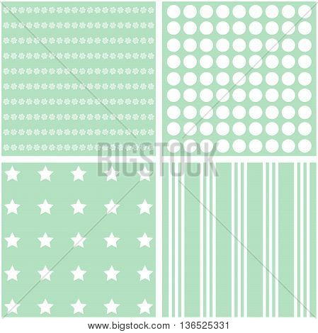Vector set of 4 retro background patterns in green tones.
