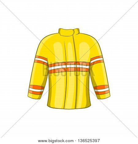 Fire jacket icon in cartoon style isolated on white background. Clothing fireman symbol