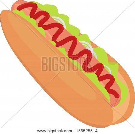hotdog vector fast food illustration unhealthy food icon isolated on white