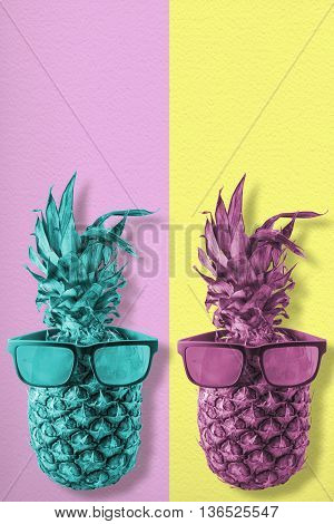Retro Color Pineapple Fruit With Sunglasses