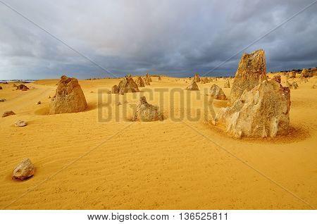 Dramatic Cloud During Late Afternoon In The Pinnacles Desert. The Pinnacles Desert Is Located In Nam