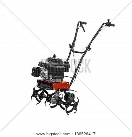 Red tiller isolated on a white background