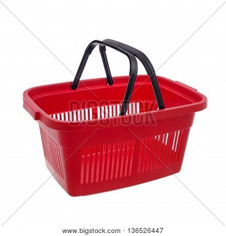 Empty red shopping basket. Isolated over white background.