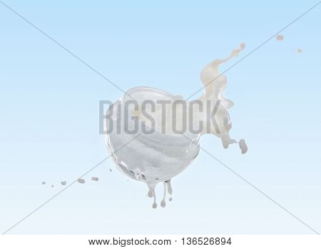 Moisturizing cream, moisturizing milk in the big milk splash on the gradient light blue  background with milk drops and splashes around the jar