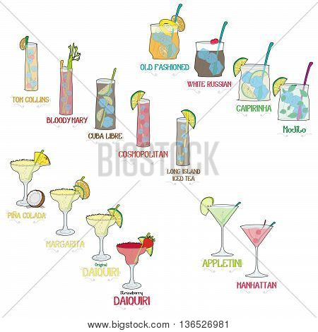Alcoholic cocktail board illustration for restaurant business