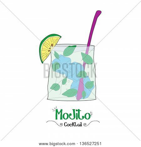 Alcoholic mint cocktail illustration for restaurant business