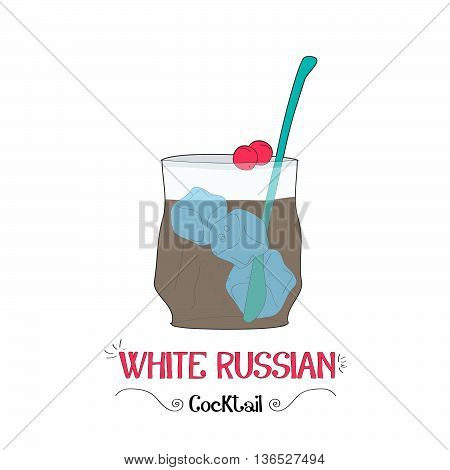 Alcoholic white russian cocktail illustration for restaurant business