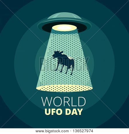World UFO Day. Flying saucer catching a cow.