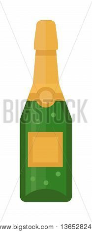 Champagne bottle and champagne glass vector illustration. Alcohol celebration wine isolated champagne bottle. Holiday gold glass new year party beverage champagne romantic drink bottle.