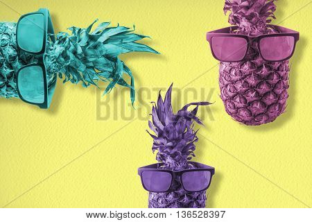 Fun Summer Concept With Pineapple In Sunglasses
