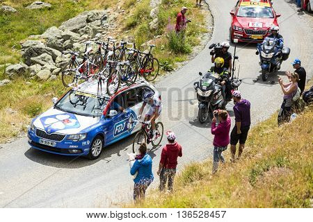 Col de la Croix de Fer France - 25 July 2015:The French cyclist Alexandre Geniez of FDJ Team leading the race riding to the Col de la Croix de Fer in Alps during the stage 20 of Le Tour de France 2015.