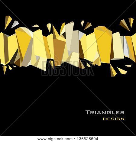 Golden crystal geometric abstract triangles border design on black background. Golden abstract geometric background. Horizontal gold border geometric design. Golden vector illustration stock vector.