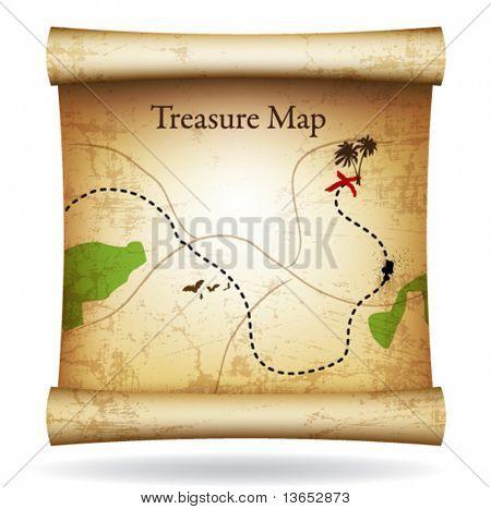 Mapa del tesoro. Vector.