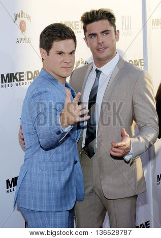 Adam DeVine and Zac Efron at the Los Angeles premiere of 'Mike And Dave Need Wedding Dates' held at the ArcLight Cinemas in Hollywood, USA on June 29, 2016.