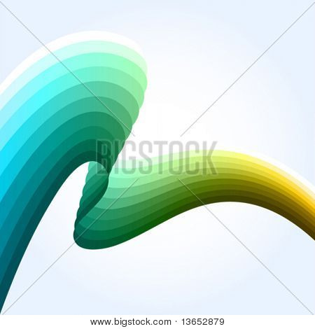 Abstract striped wave. Vector.