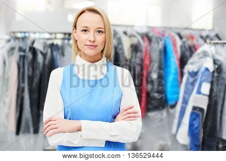 Portrait of a woman Laundry worker at the dry cleaners