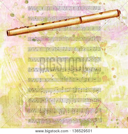 A hand drawing of a vintage fife (a small high-pitched transverse flute similar to the piccolo) on the background of sheet music toned with textures; with copyspace