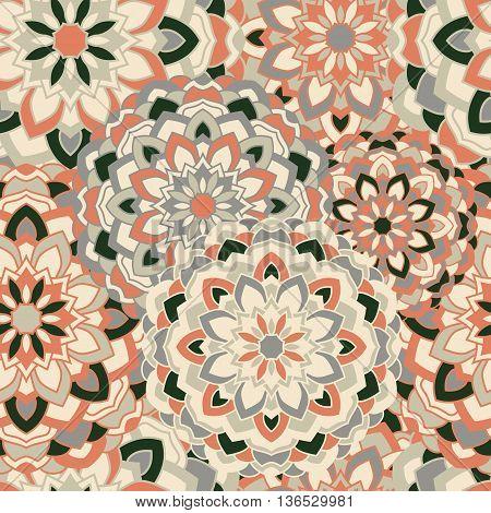Seamless background with circular symmetrical mandalas. Ethnic pattern in Greek, Turkish, Islamic style.