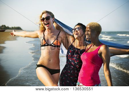 Femininity Girls Summer Beach Vacations Concept