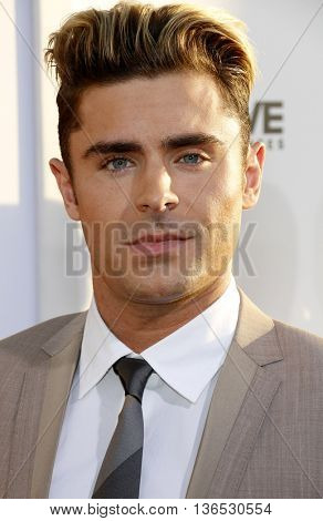 Zac Efron at the Los Angeles premiere of 'Mike And Dave Need Wedding Dates' held at the ArcLight Cinemas in Hollywood, USA on June 29, 2016.