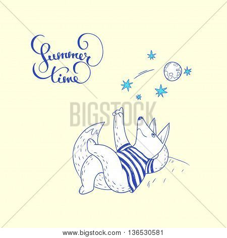 Summer time. hand drawn illustration with cute fox watching a falling star