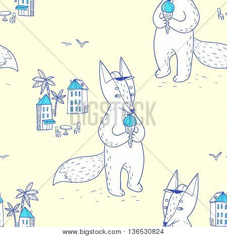 Summer time. hand drawn seamless pattern with cute fox on the street