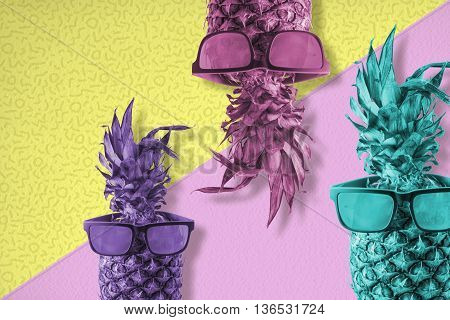 Pineapple Fruit With Sunglasses Color Summer Art