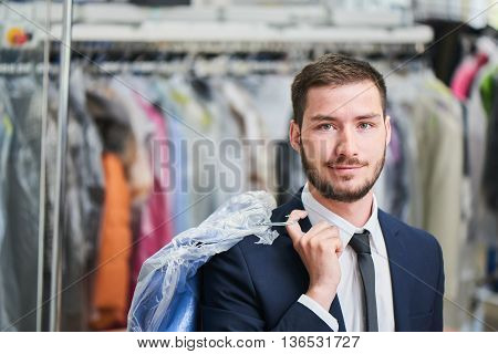 Portrait of a male client in the Laundry room