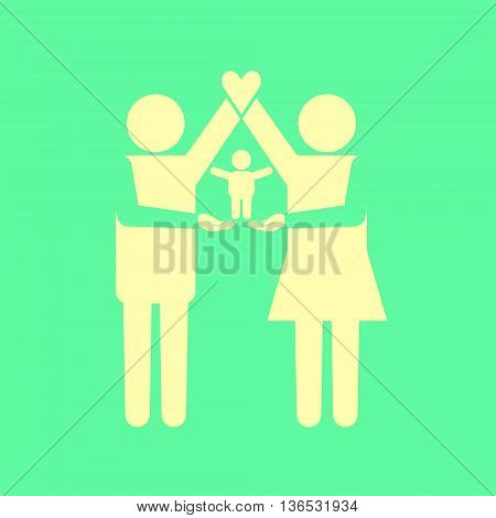 Parents icon standing together with kid on their arms. Parents arms forming house with heart on the top.