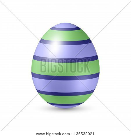 Easter Egg with Strips Texture - Standing Vertically on White