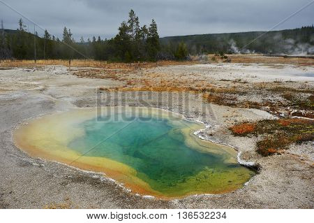 Thermal spring, Midway Geyser Basin, Yellowstone, Wyoming, USA