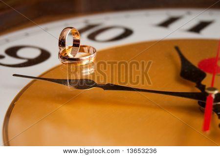 Wedding Rings On Clock