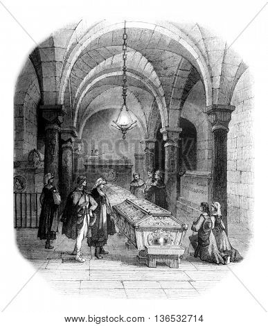Crypt of the cathedral of Krakow, Tomb of Sobieski, vintage engraved illustration. Magasin Pittoresque 1861.