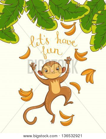 Let's have fun. vector hand drawn background for card
