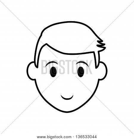 Person concept represented by silhouette of man head icon. Isolated and Flat illustration