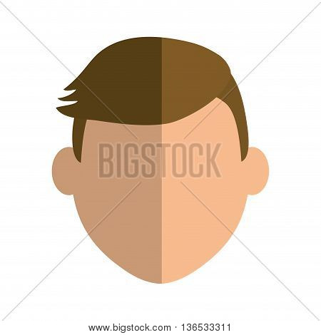 Person concept represented by man head icon. Isolated and Flat illustration
