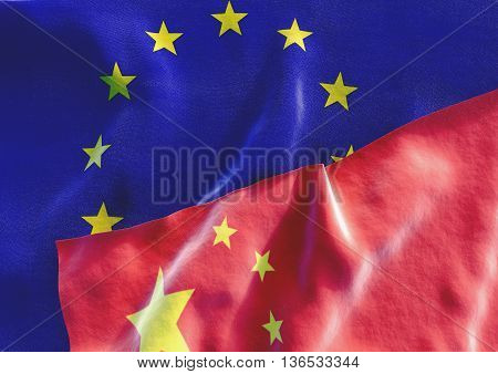 Flags of the China and the European Union. Chinese Flag and EU Flag. 3D render