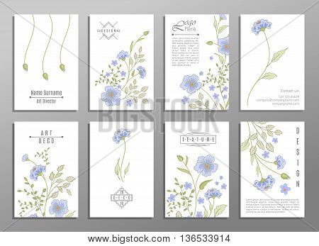 Collection of cute universal cards with flowers for your design. VIP backdrop blue flowers, for restaurant, saloon, gallery, spa. Valentine day, mother day luxury gift cards.
