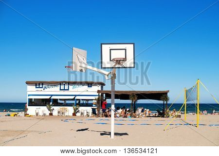 ALBORAYA, SPAIN - JUNE 22: View of La Patacona beach on June 22, 2016 in in Alboraya, Spain. This beach connects with the popular La Malvarrosa beach in Valencia