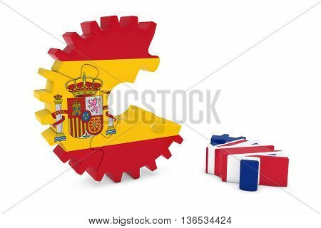 Spain And United Kingdom Relations Concept 3D Cog Flag Puzzle Illustration