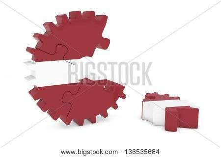 Latvian Flag Gear Puzzle With Piece On Floor 3D Illustration