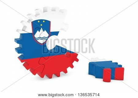 Slovenian Flag Gear Puzzle With Piece On Floor 3D Illustration