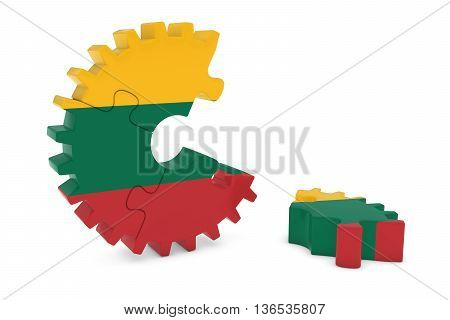 Lithuanian Flag Gear Puzzle With Piece On Floor 3D Illustration