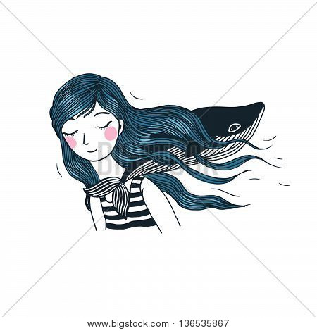 Beautiful young girl with a whale. Hand drawing isolated objects on white background. Vector illustration.